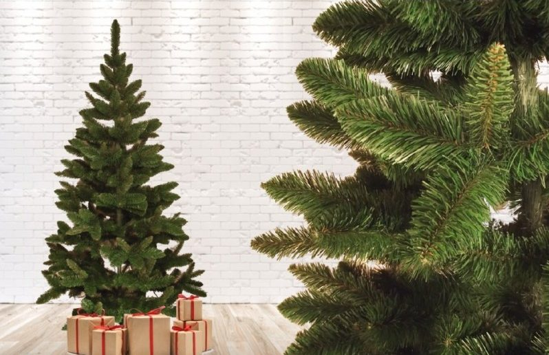 Artificial Christmas trees stock